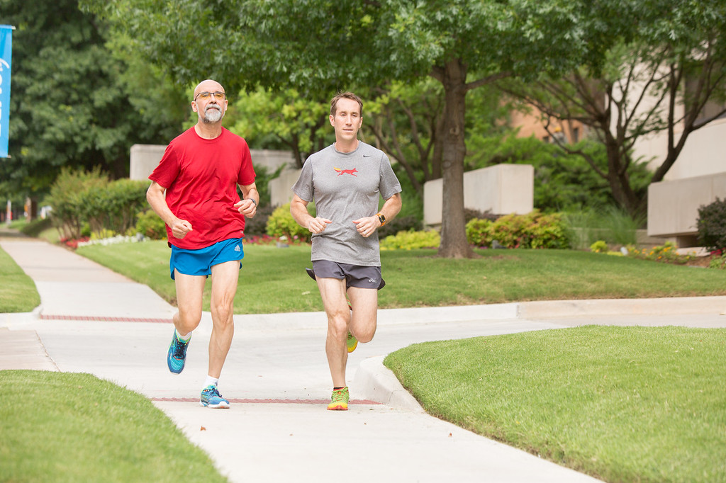 Dr gary Gorbsky and Scott Plafker usually run together on Saturdays. They are both researchers at the Oklahoma Medical Research Fondation.
