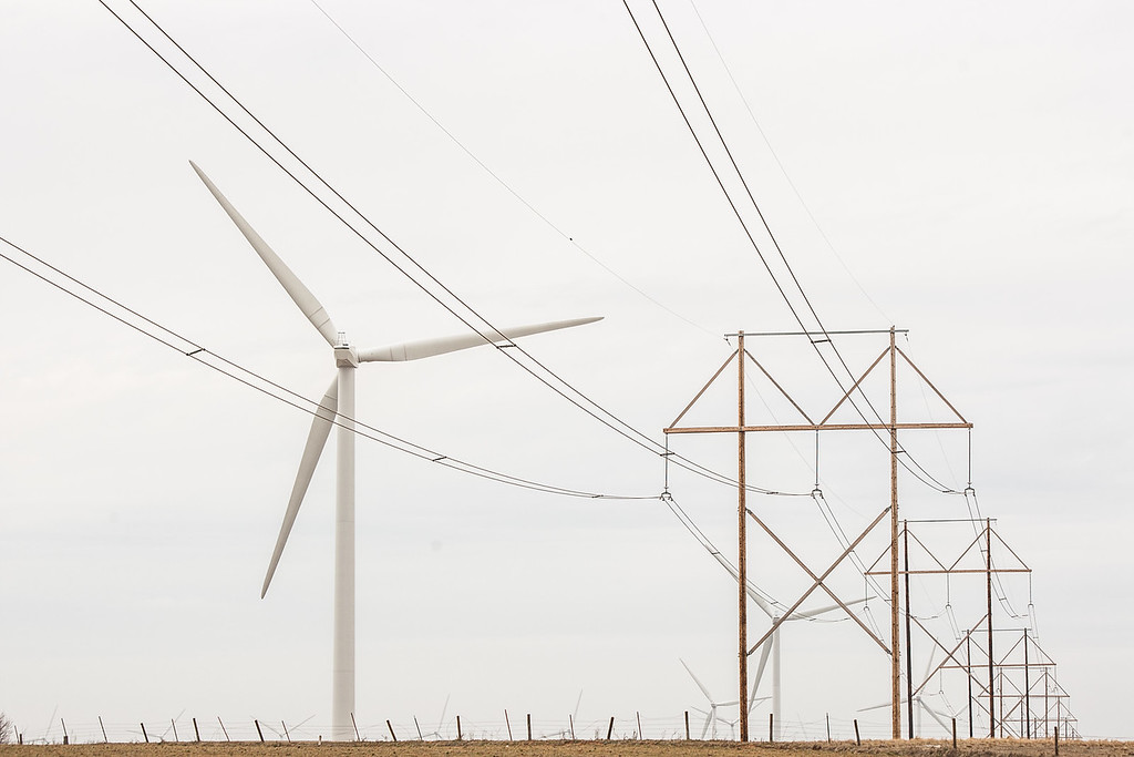 High tension power lines coming from a wind farm in western Oklahoma.