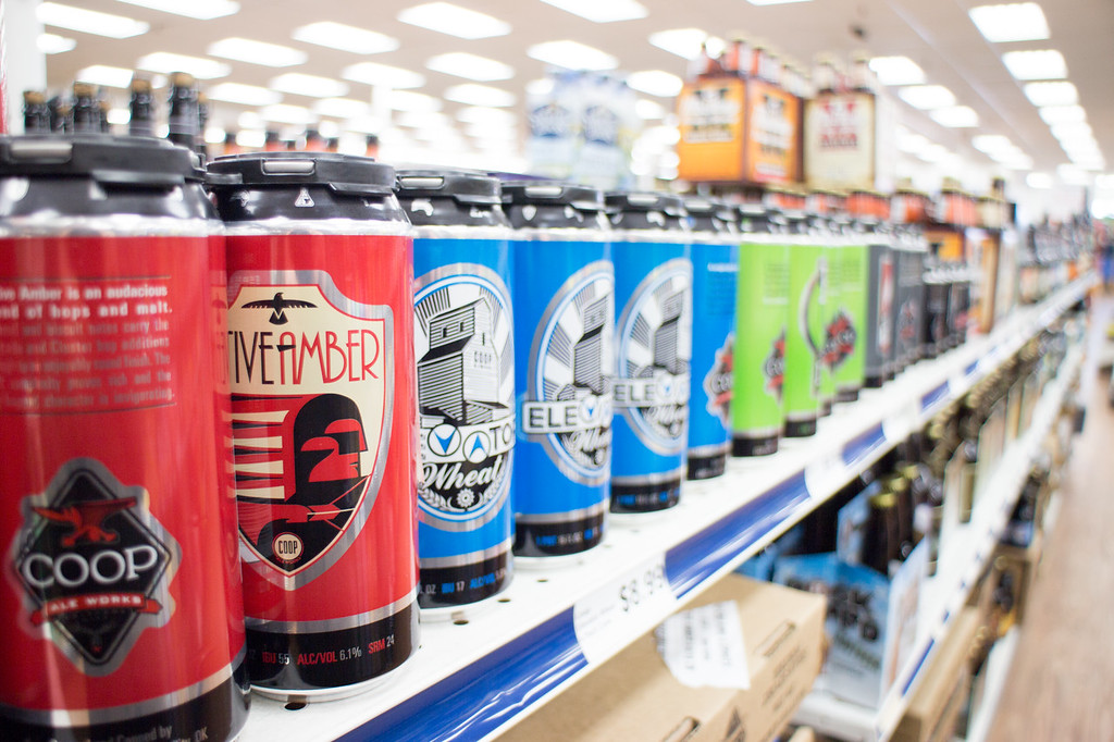 Oklahoma made COOP beer sitting at room tempeture at Cellar Wine and Spirits in The Village, OK.