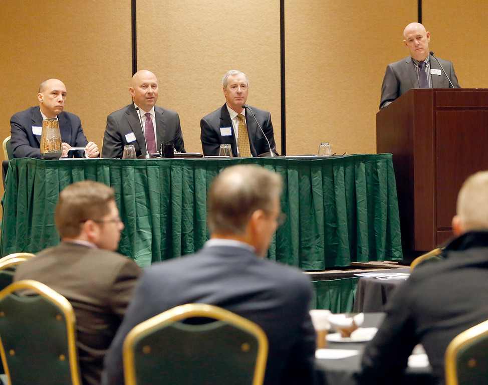 Moderated by Alan Campbell (Right) An Industy Expert Panel of Jerry Isaacs (BKD), Steve Cole (McAfee & Taft) and Bryan Hanning (MassMutual of OKlahoma) answer audience questions at the Tulsa Family Business Forum Tuesday.