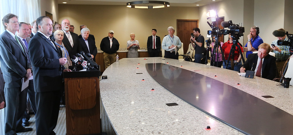 Lonnie Sims, Mayor of Jenks, speaks to the media at a press conference concerning the upcoming Vision2025 proposal.