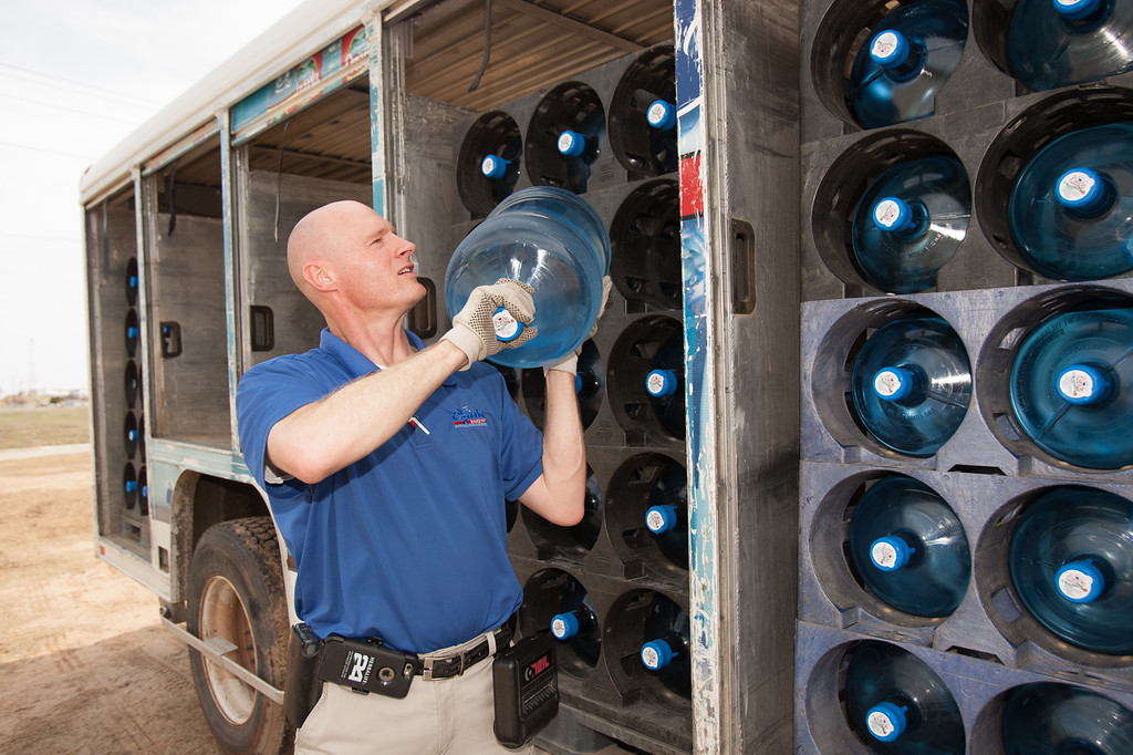 Shane Jones delivers water for Ozarka in Oklahoma City.