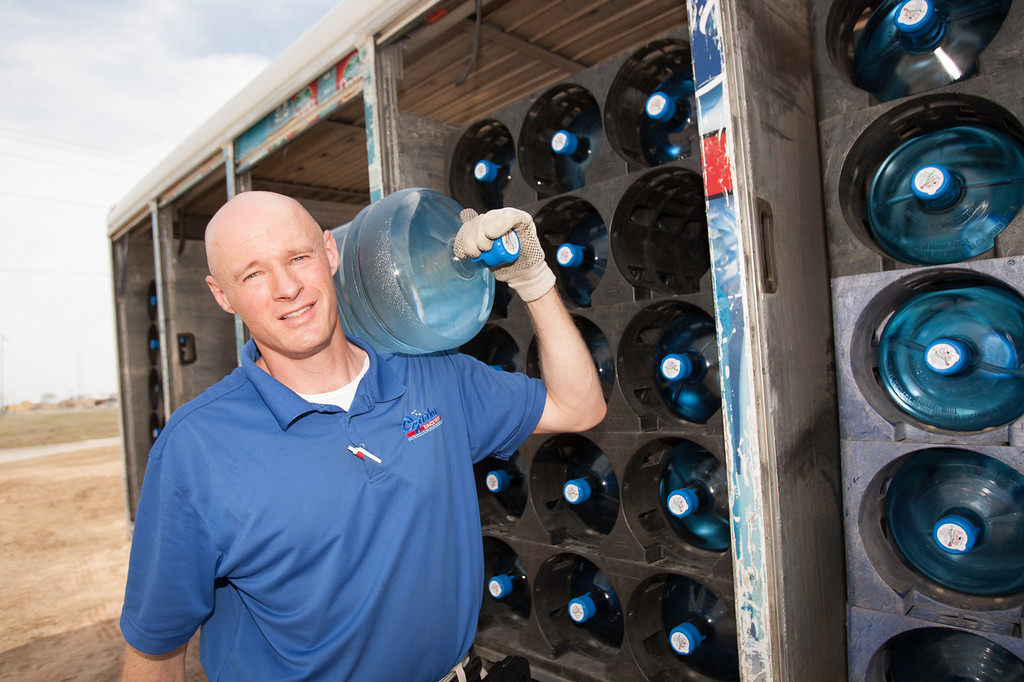 Shane Jones delivers water for Ozarka in Oklahoma City.