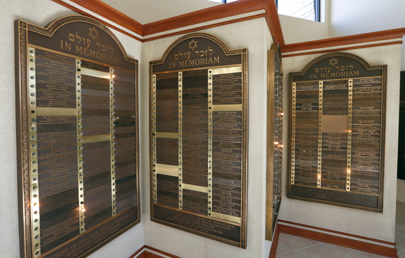 Memoriam plaques at the  Congregation B'nai Emunah synagog in Tulsa.