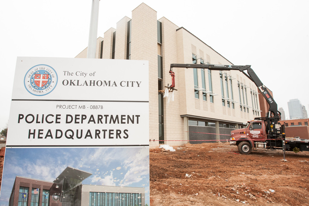 The new Oklahoma City Police Headquartes under construction in downtown Oklahoma CIty.