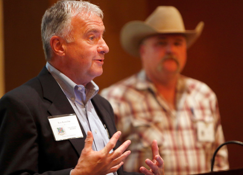 Ken Komiske, Utilities Director for the City of Norman and Jason Huffaker of Minick Materials answer audience questions Tuesday at the Oklahoma Indian Nations SWANA 2015 Annual Conference in Catoosa.