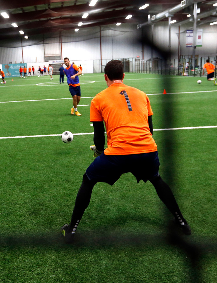 Goal keeper Zack Lubin for the Tulsa Roughnecks gets in some practice.