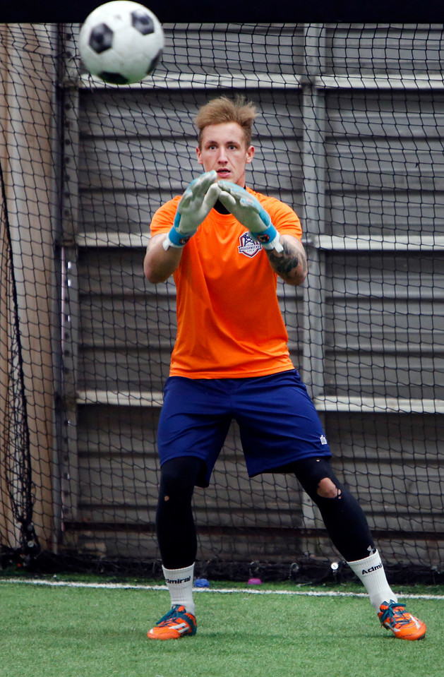Goal keeper Lewis Amos for the Tulsa Roughnecks gets in some practice.