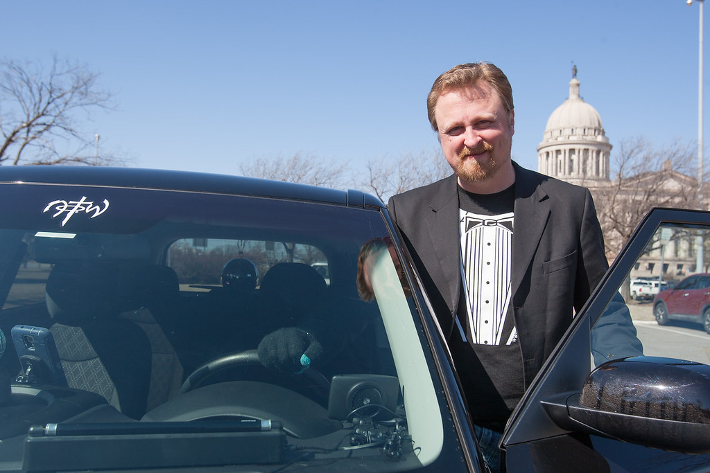 Zane Hatch at the Oklahoma State Capitol to meet with lawmakers about legislation that would regulate ride sharing services such as Uber and Lyft.