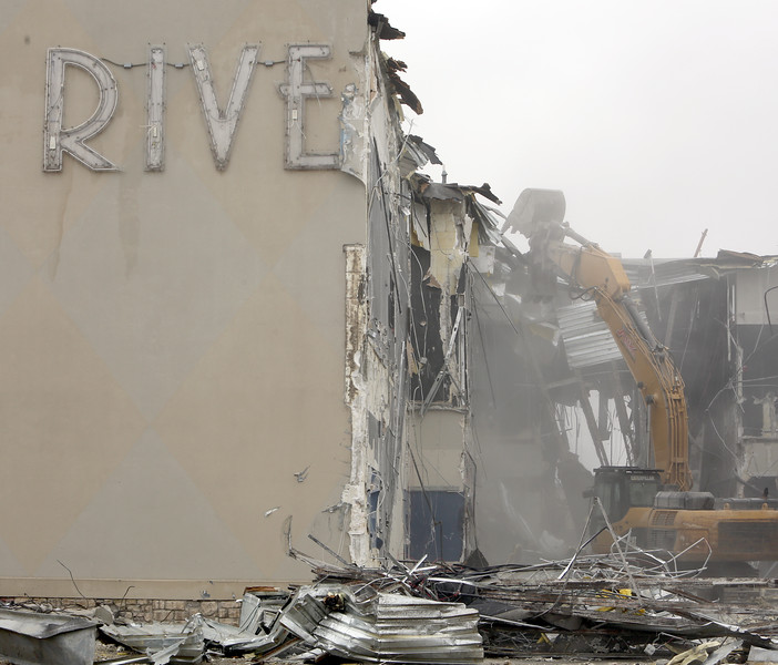 Demolition of the Riverwalk Movie theatre is underway to make way for the FlyingTee entertainment complex in Jenks.