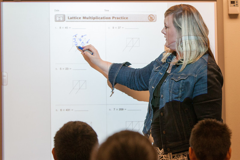 Mrs Kerr works on multiplication with her third grade class at Eugene Feilds Elementry in Oklahoma City, OK.