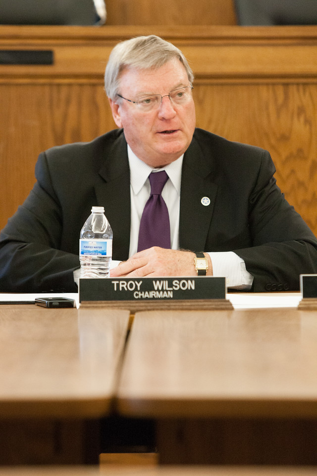 Outgoing Worker's Comp Court Commision chairman Troy Wilson during a commision meeting.