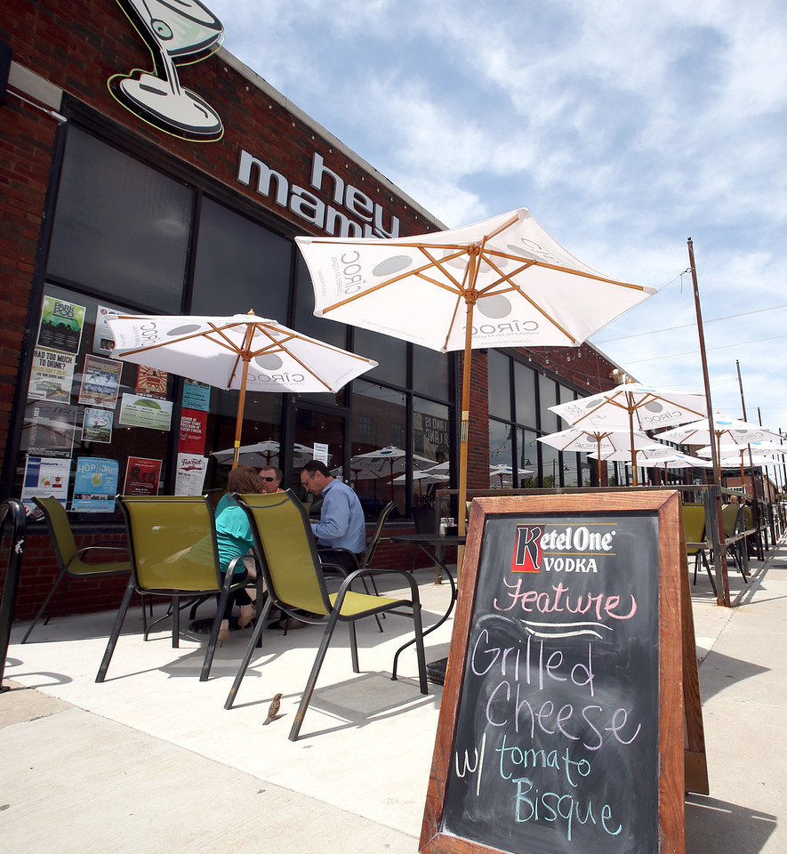 Patrons enjoy lunch at the Hey Mambo restaurant in Tulsa's Brady District.
