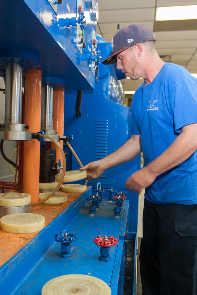 Chris Greco pressure test the integrity of valves at EMC in Chickasha, OK