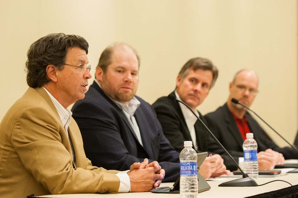 Jeff Cope with Tulco, Derek Turner with Turner & Company, Greg Elliott with Standley Systems, and Thomas Hill with Kimray participated in a panel discussion at this year's Family Business Forum.