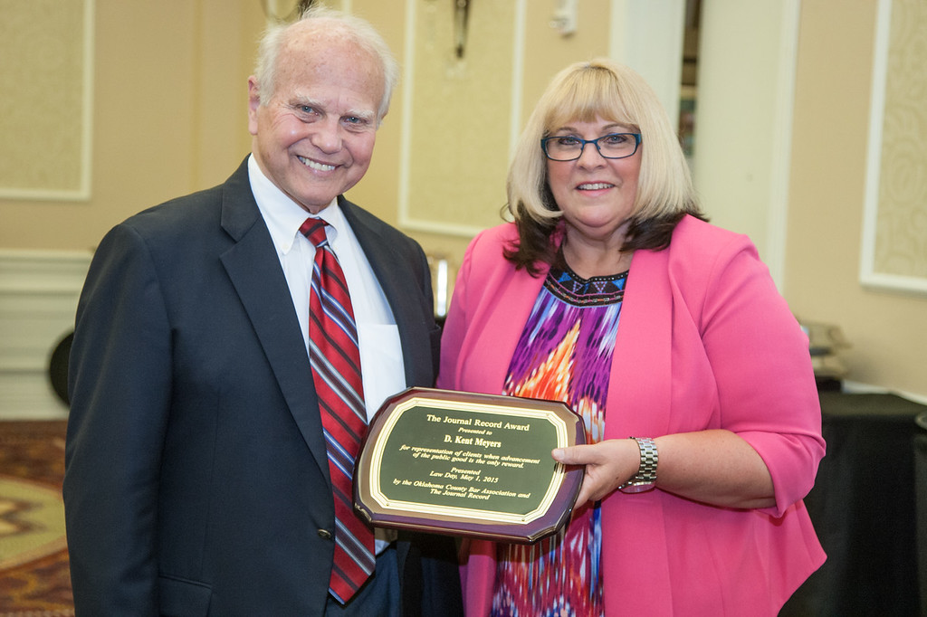 Kent Meyers was this year's recipient of the Journal Record Leadership in Law award. The award was presented at the annual Lay Day luncheon hosted bt the Oklahoma County Bar Association and was presented by Jodi Brooks, publisher of the Journal Record.