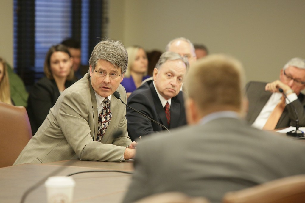 Jerry Boak, Director of the Oklahoma Geologic Survey, testifing at an interim study on induced seismicity at the Oklahoma State Capitol.