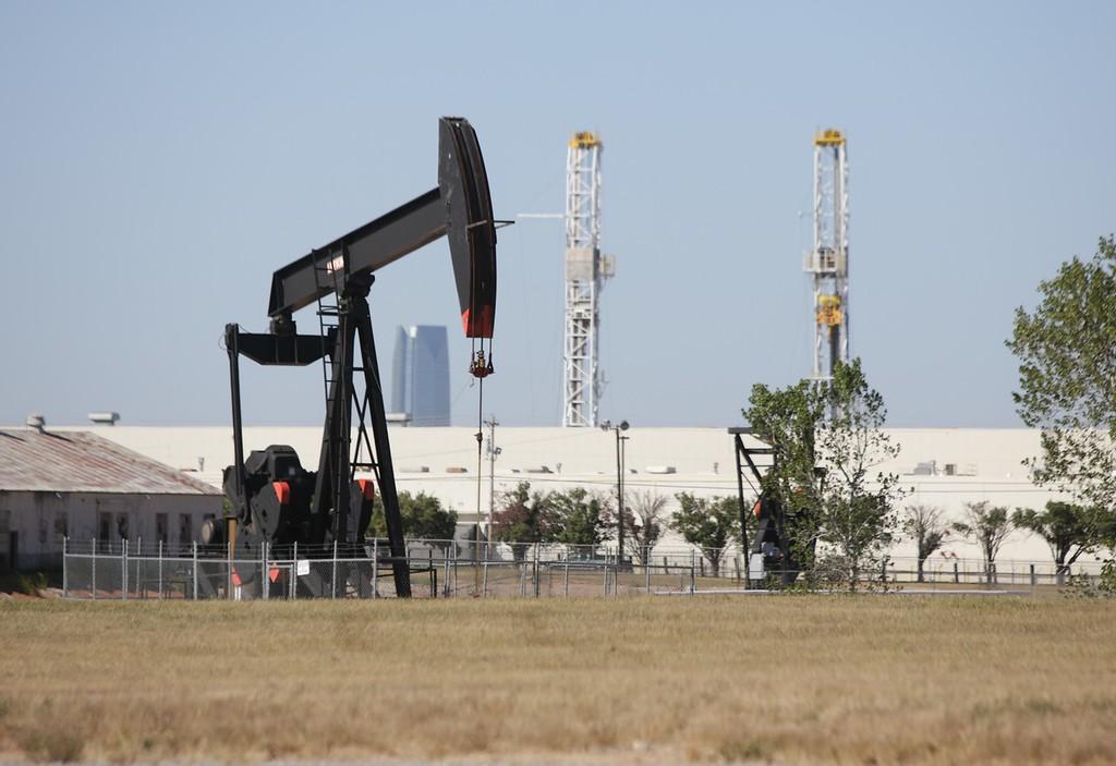 A pump jack in southern Oklahoma City, OK.