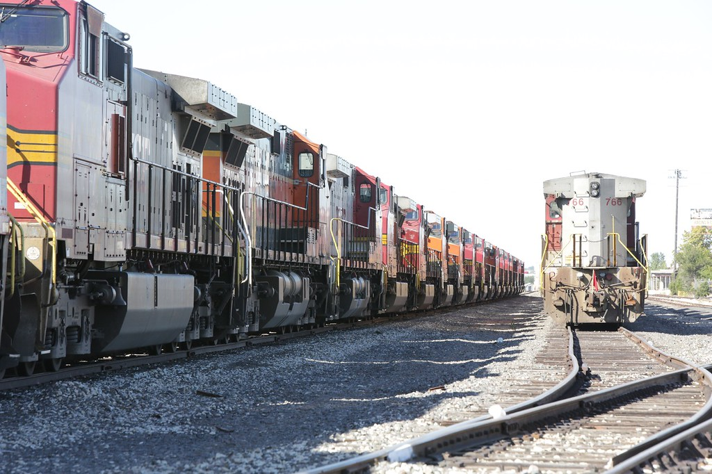 Two trains made entirely of engines at a BNSF rail yeard in Oklahoma City, OK.