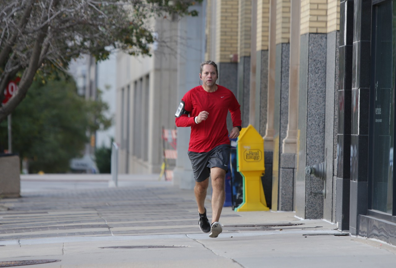 Kenneth Davis, with TAP Architecture, running in downtown Oklahoma City, OK.