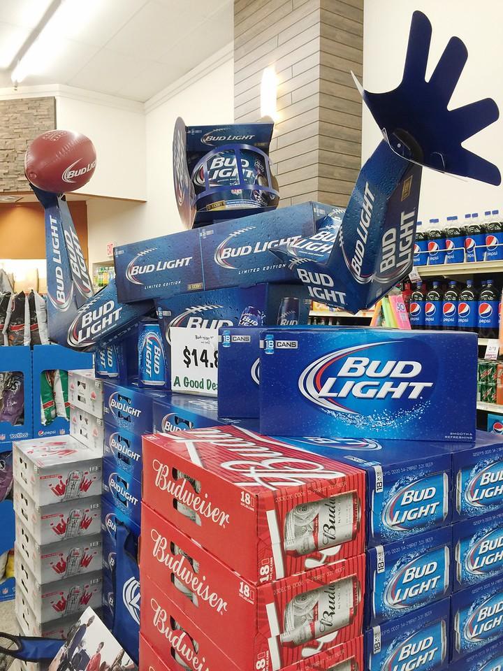 A Budweiser abd Bud Light display at Homeland Grocery Store in Edmond, OK.