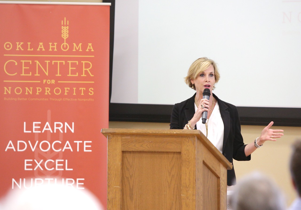 Mary Malone with the Oklahoma City Public Schools Foundation speaking annual meeting of the Oklahoma Center for Nonprofits.