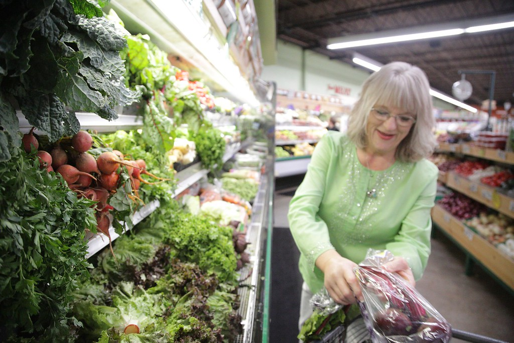 Pam Spurr shopping with her husband at Natural Grocers in Norman, OK.