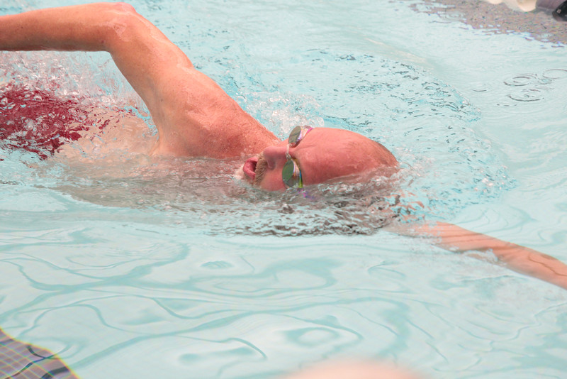 Rand Homburg swims laps at the Aquatic Center at Rose State College in Midwest City, OK.