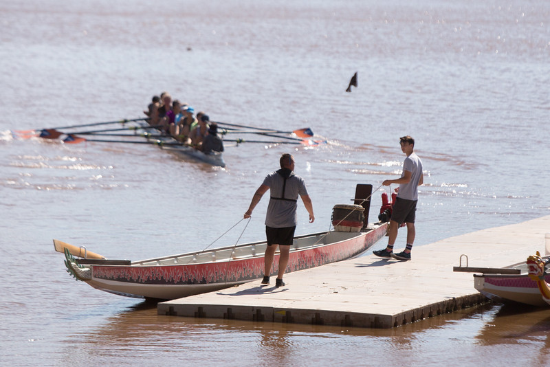 Afternoon rowing practice on the Oklahoma River in the Boathouse District of Oklahoma City, OK.