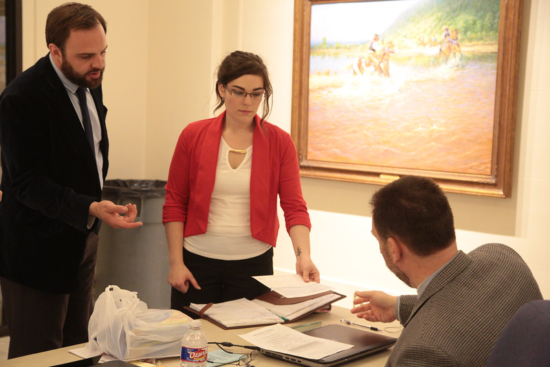 Josh Setzer, running for senate district 27 and Ashlee Ortiz, running for house district 61, file their canidacy with the Oklahoma State Election Board.