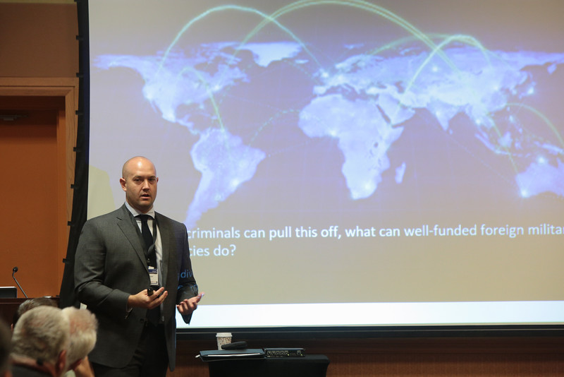 Special Agent Chad Knapp with the FBI speaks about cyber security at the Oklahoma IT Symposium in Oklahoma City.