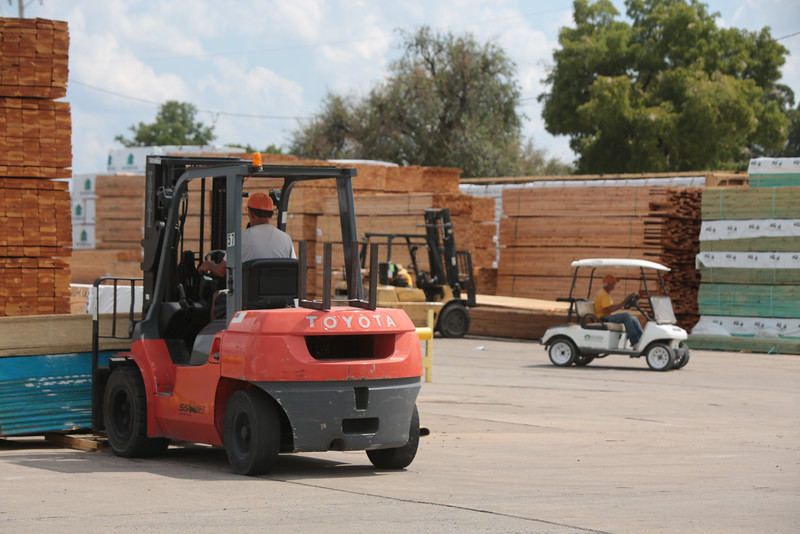 Lumber being moved at Forest Building Materials located at 300 N May in Oklahoma City.