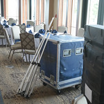The events room at Lincoln Park Golf Coarse clubhouse being prepared for a wedding.