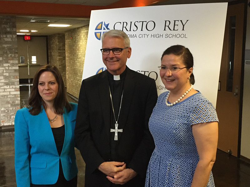 Corporate Work Study Director Regina Birchum, Archbishop Paul Coakley and Cristo Rey OKC President Renee Porter announce the opening of the school at OSU-OKC in the fall of 2017.