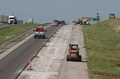 Construction on I-35 at Highway 33 in Guthrie, OK.