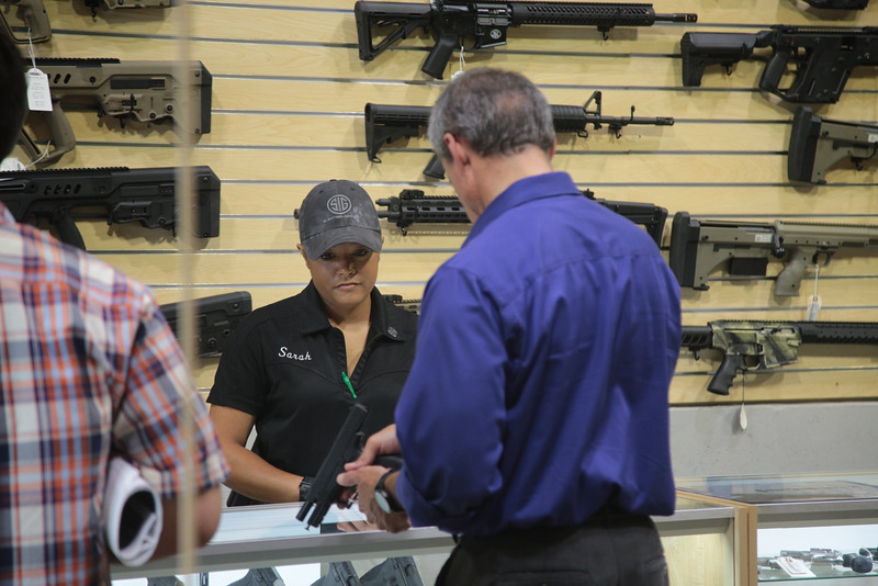 Customers shopping at Wilshire Gun located at 615 W Wilshire in Oklahona City.