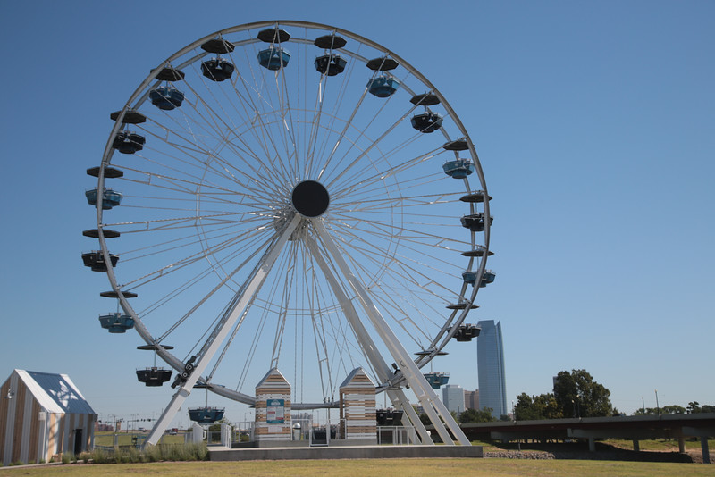 The farris wheel on the north end of the pkanned Wheeler District site in Oklahoma City.
