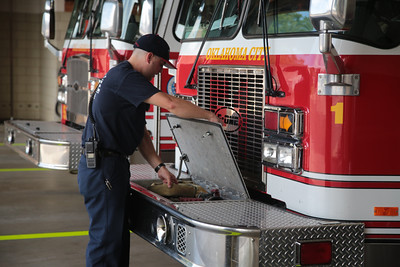 Trucks return to Firehouse One after responding to an accident at NW 23rd Street and Classen Ave in Oklahoma City, OK.