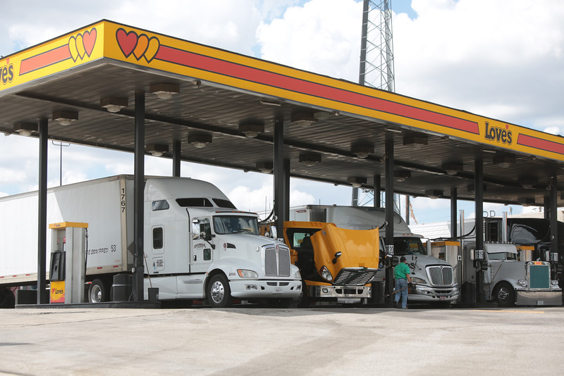 Trucks fueling up at Love's Travel Stop at 12225 N I-35 in Oklahoma City.