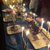 Agudas Menorahs table lit