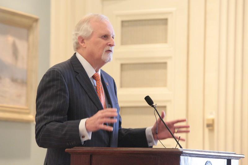Howard Barnett, president at OSU-Tulsa, speaking for the Oklahoma Academy at the Oklahoma State Capitol.