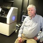 Paul Kincade in front of a new microscope at OMRF in Oklahoma City, OK. The new laser based microscope is only the second of it's kind.