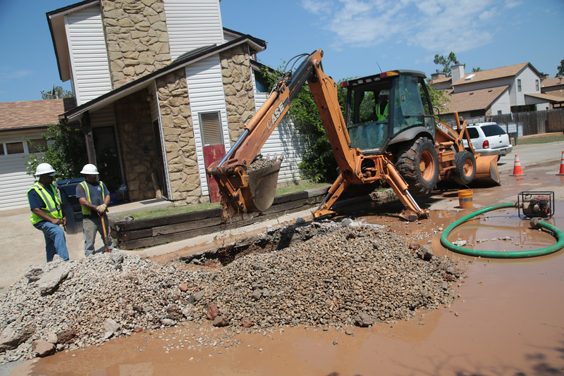 Water pipeline maintenance in north Oklahoma City.