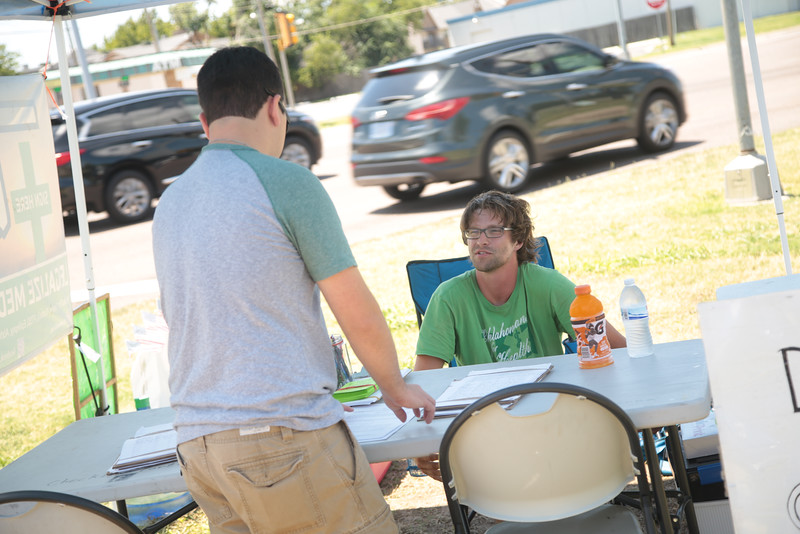 The group Oklahoman's for Health is collecting signatures at NW Expressway and Meridian for for a ballot initiative that would legalize marijuana in Oklahoma.
