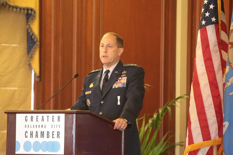 Lt. General Lee Levy speaking to the Greater Oklahoma City Chamber of Commerce.