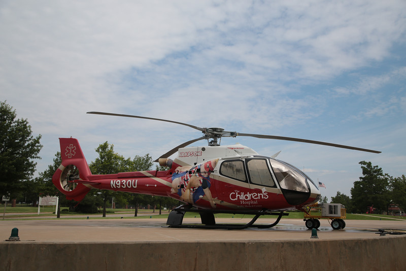 An air ambulance helicopter at OU Medical Center in Oklahoma City, OK.