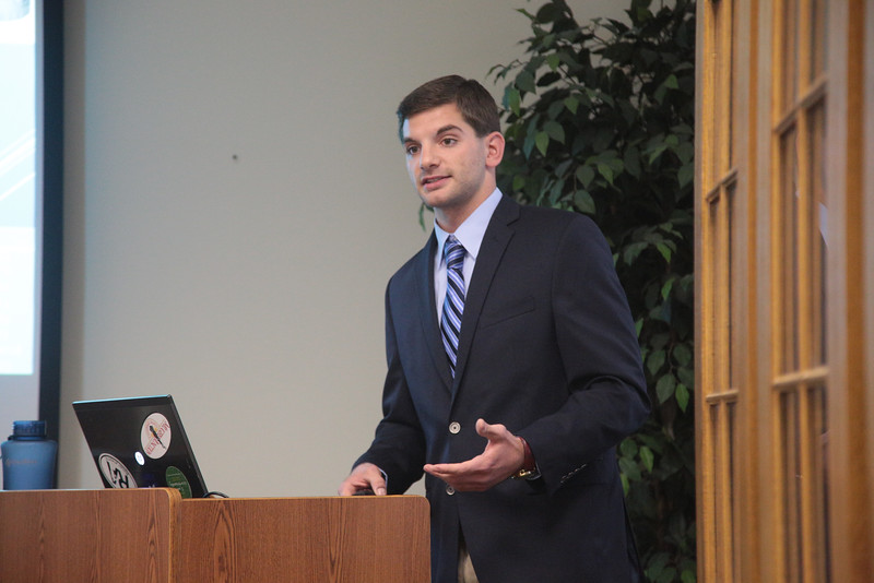 Brandon Holzbauer-Schweitzer defends his masters thesis at the University of Oklahoma. His work focused on the Trailwoods neighborhood LID BMP work.