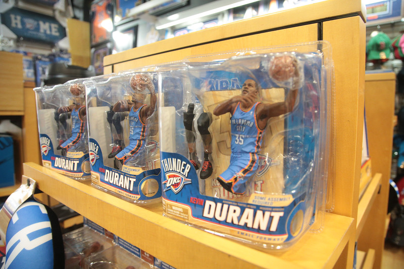 Kevin Durant merchandise at On Deck Sports at Quail Springs Mall in Oklahoma City, OK.