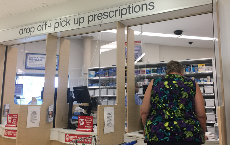 The prescription pickup counter at Walgreens Pharmacy at 1400 E 2nd Street in Edmond, OK.