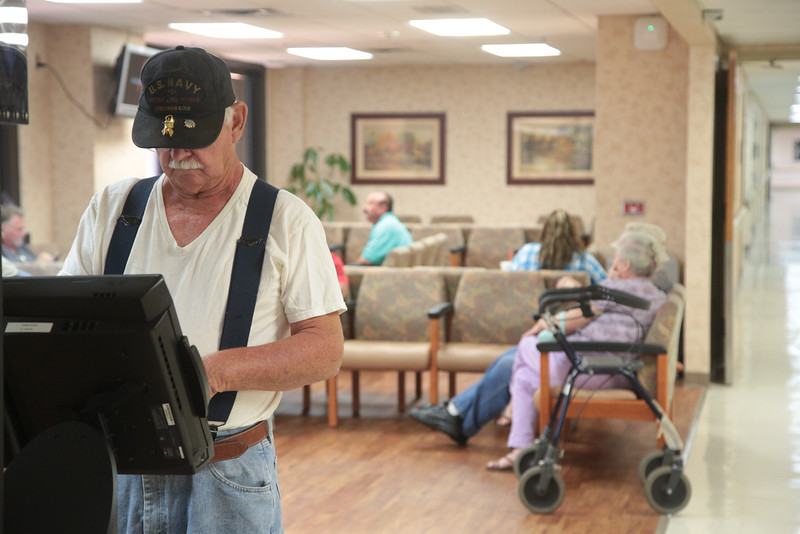 To help with wait time the VA Hospital in Oklahoma City has kiosk for patients to check in.